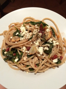 Spaghetti with Sundried Tomatoes and Spinach