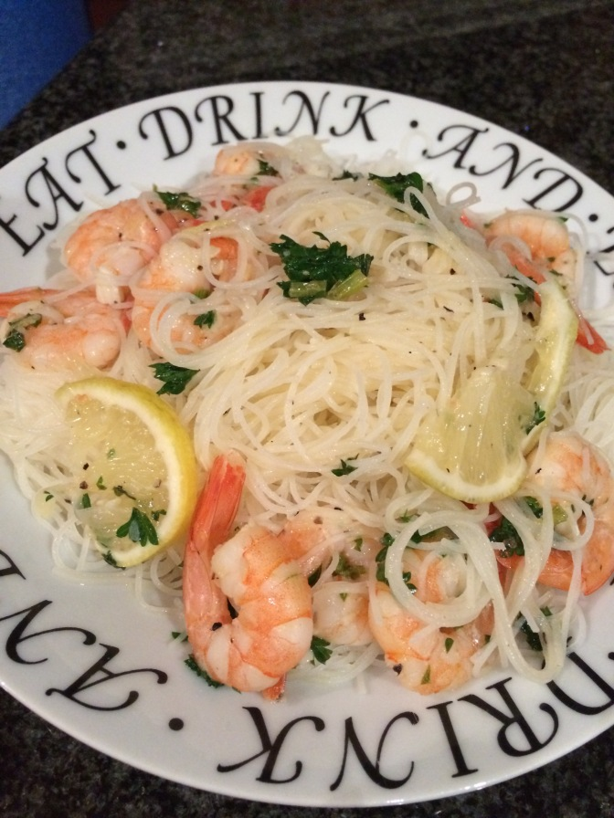 Rice Noodles with Shrimp Scampi