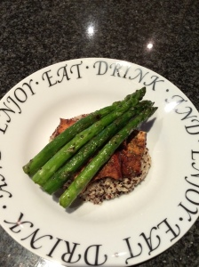 Tofu on a bed of Quinoa with Asparagus